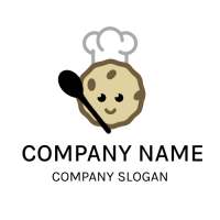 Cute Biscuit Chef with Spoon Logo Design
