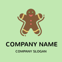Gingerbread Man Biscuit Logo Design