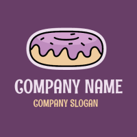 Blueberry Donut Frosting with Sprinkles Logo Design