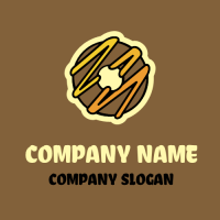 Chocolate Donut with Honey Drizzle Logo Design