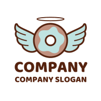 Doughnut Logo | Chocolate Donut with Wings