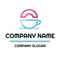 Doughnut and Teacup Silhouette Logo Design