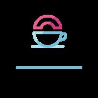 Doughnut and Teacup Silhouette Logo Design