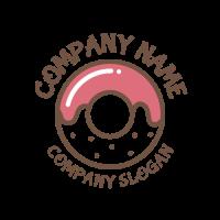 Elegant Pink Glazed Donut Logo Design
