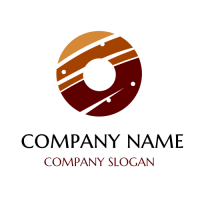 Mirror Glazed Caramel Doughnut Logo Design