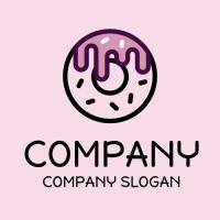 Modern Black Donut Silhouette Logo Design