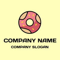 Modern Hot Pink Glazed Donut Logo Design