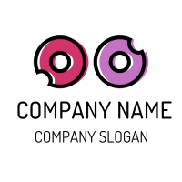 Pink and Purple Doughnuts Logo Design
