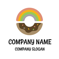 Rainbow Sweet Chocolate Donut Logo Design