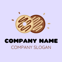 Vanilla and Choco Drizzled Donuts Logo Design