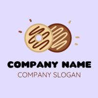 Vanilla and Choco Drizzled Donuts Logo Design