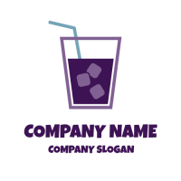 Cold Tea with Ice and Straw Logo Design