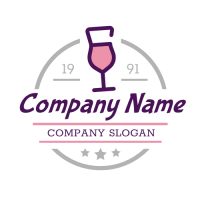 Pink Coctail in Purple Goblet Logo Design