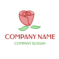 Elegant Red Rose with Leaves Logo Design