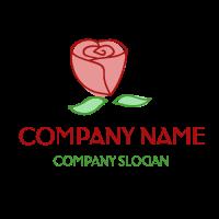 Elegant Red Rose with Leaves Logo Design