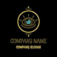 Hippie Blue Eye with Lashes Logo Design