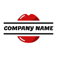 Fashion Logo | Red Glossy Lipstick Lips Logo