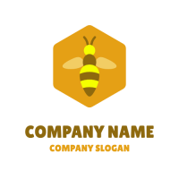 Bee Inside an Orange Hexagon Logo Design