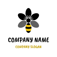 Black Flower As a Striped Bee Logo Design