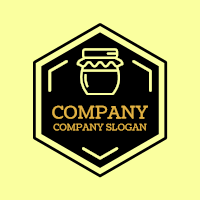 Black Hexagon with Glass Jar Logo Design