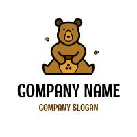Brown Teddy Bear with Honey Pot Logo Design