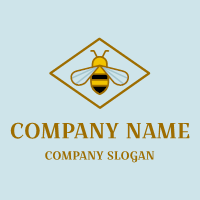 Honey Logo | Elegant Insect in Diamond Shape