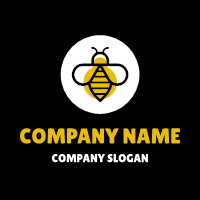 Elegant Insect Silhouette Emblem Logo Design