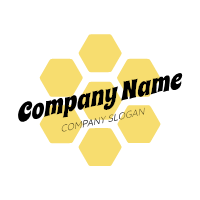 Minimalist Yellow Honeycomb Logo Design