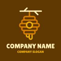Orange Hive on the Wooden Twig Logo Design