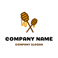 Pair of Wooden Honey Dippers Logo Design