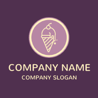 Purple Ice Cream with Cherry Logo Design