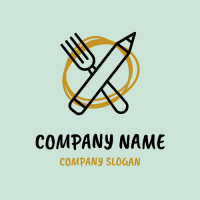 Fork and Pencil with Yellow Round Logo Design