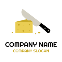Slice of Cheese and Sharp Knife Logo Design