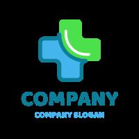 Blue and Green Clinic Cross Logo Design