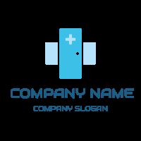 Blue Clinic Door and Cross Logo Design