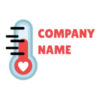 Blue Thermometer with Heart Logo Design