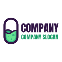 Pill with Green Mixture Inside Logo Design