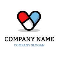 Red and Blue Pills Like Heart Logo Design