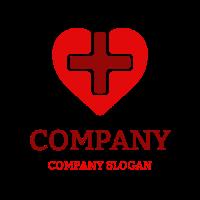 Red Cross Inside the Heart Logo Design
