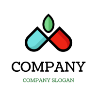 Two Halves of Pill and Leaf Logo Design