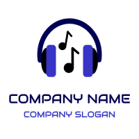Blue Headphones with Notes Logo Design