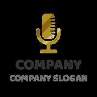 Golden Microphone for Records Logo Design