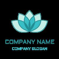 Nature & Environment Logo | Blue Yoga Lotus for Meditation