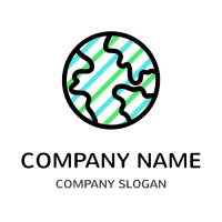 Globe Outline with Multicolored Lines Logo Design