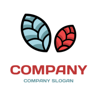 Light Blue and Red Leaves Logo Design