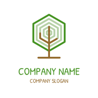Modern Hexagon Tree Logo Logo Design