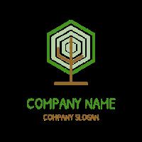 Modern Hexagon Tree Logo Logo Design