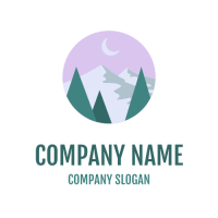 Mountains and Crescent Moon in the Sky Logo Design