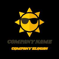 Sun with Black Sunglasses Logo Design