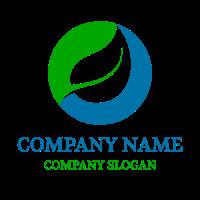 White Leaf in Green Circle Logo Design